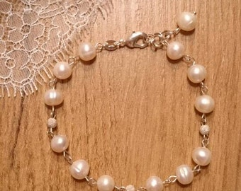 Bracelet made of silver, Sterling Silver bead with diamond dust and real pearls