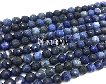 """Faceted Sodalite, 8mm, 16"""" strand. #R8F-002"""