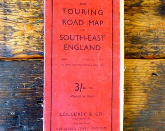 Vintage Motoring & Touring Road Map of South East England on Cloth- Couldrey and Co C.1940