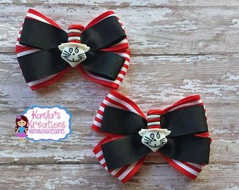 Dr. Seuss Hair Bows, Cat and Hat Hair Bows, Red, White and Black Dr. Seuss Inspired Hair Bows.