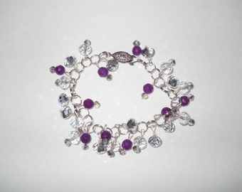 Sparkle Handmade Silver and Glass Bead Bracelet !One of a KInd!
