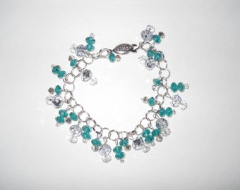 Silver, Teal, Shimmery Glass Bead Bracelet !One of a Kind!