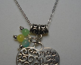 Mother & Daughter Forever Pendant with Chain and Choice of Bead Color  18""
