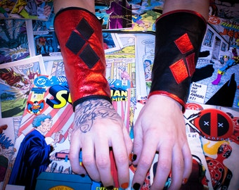 Harley Quinn Leather Gauntlets For Cosplay