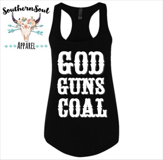 God Guns Coal Basic Racerback Tank Top Country Tank Top, Southern Tank Top, Country Shirt, Country Concert, Country Music