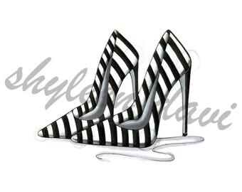 "Fashion Illustration Print ""Playful Stripes"" (unframed)"