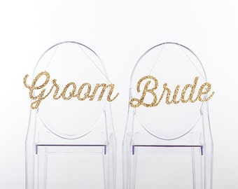 Gold Glitter Bride And Groom Chair Signs/Chair Backers