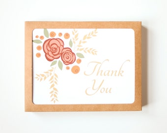 Thank you Card Set, Set of 10, Floral Card, Wedding Thank you cards bulk, Blank Cards, Botanical Card, Greeting Card, Floral Card
