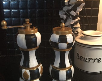 Hand painted teapot in charcoal black and snowy white swirl Funky salt and pepper grinders
