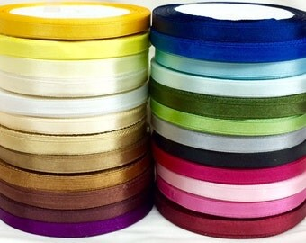 """1/4"""" wide Single Face Satin Ribbon Available in 24 Colors Selling Per Roll/15 Yards"""