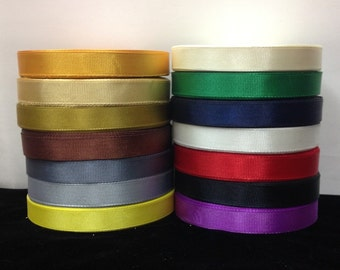 "25 Yards SOLID 1/2"" Grosgrain Ribbons  14 Different Colors"