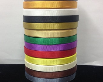 "25 Yards SOLID 3/8"" Grosgrain Ribbons  14 Different Colors"