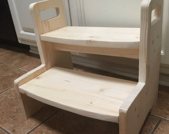 Items Similar To Unfinished Alder Step Stool Wooden Wood
