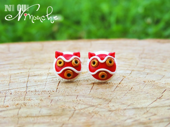 Princess Mononoke (fimo) mask earrings