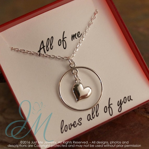 Anniversary Necklace - Sterling Silver Necklace - All of me loves all of you