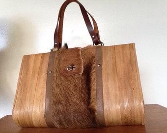 Unique Tiki wood with Fur 1960s handbag