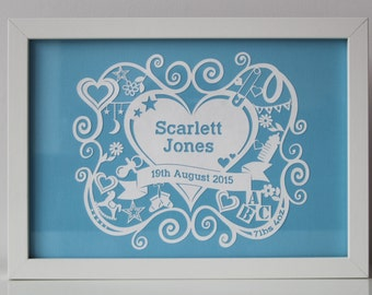 Personalised New Baby Papercut Framed Gift / Boy Girl Christening Present