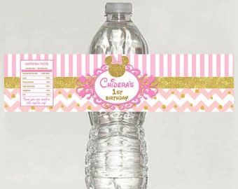 Pink and Gold Minnie Mouse Water Bottle labels - printable