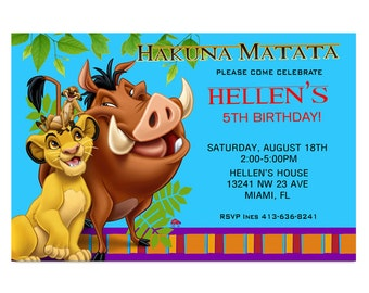 Lion King Personalized Birthday Party Invitation - Digital file
