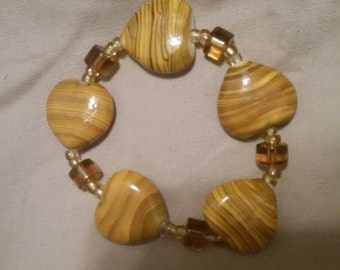 Wooden Colored Glass Beaded Bracelet