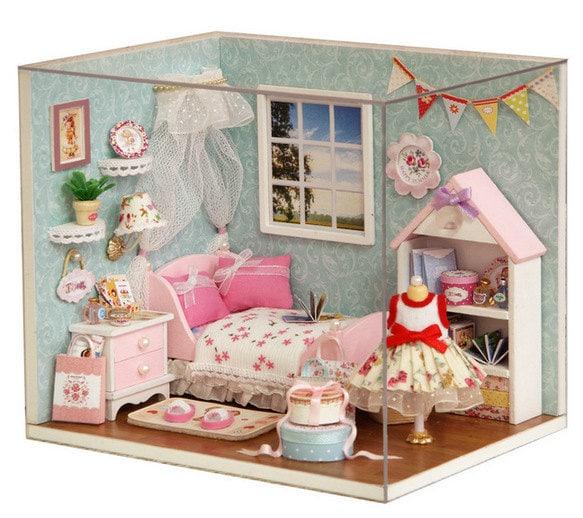 DIY Dollhouse Miniature Bedroom Kids Room LED Lights Assembly