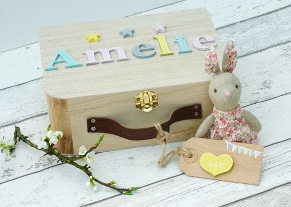 Baby Gift Memory Box : Personalized baby gift memory box keepsake pastels