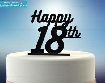 "18th Birthday Cake Topper - ""Happy 18th"" - BLACK - OriginalCakeToppers"