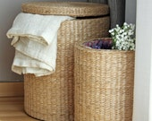 Special offer: Handwoven round storage baskets/laundry basket/gift for moms/straw basket/Footstool/Ikea/wedding gift/Utility Basket