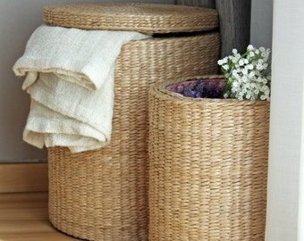 Special offer: Handwoven round storage baskets/laundry basket/straw basket/Footstool/wedding gift/Utility Basket