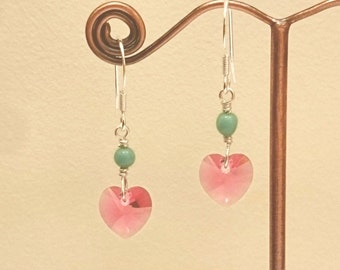Sterling Silver earrings with Pink Heart Swarovski Crystal
