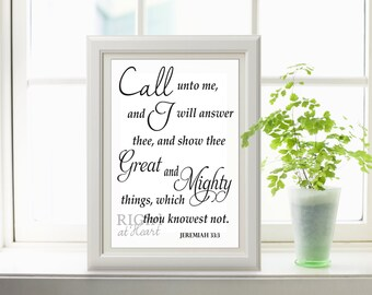 INSTANT DOWNLOAD 8x10 Jeremiah 33:3 Bible verse print