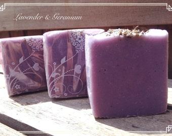 Lavender & Geranium Soap, Lavender soap, Handmade soap, cruelty-free soap, Cold Process Soap/ Purple Soap/ Artisan Handcrafted Soap