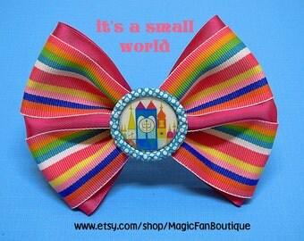 Its a Small World Disney Bow-Disney World Bow-Disneyland Bow-Disney Hair Clip-Hair Bows-Disney Accessories-Disney Barrette-Small World