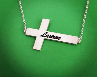Silver Cross Name Necklace, Cross Name Necklace, Name Necklace, Silver Necklace Cross, Cross Name, Baptism Gift, Religious Jewelry