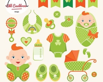 St. Patrick baby boy clipart commercial use, vector images, vector graphics CL029
