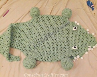 Eaten by an Alligator / Crocodile blanket / Afghan