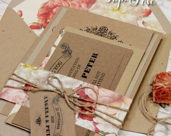 Craft Paper Belly Band Personalised Rustic Vintage Blooming Roses Flowers Wedding Day Invitation with Lined Envelopes