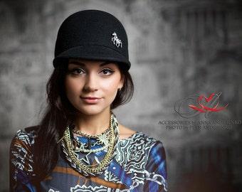 Black Fashion millinery felted wool caps, Hats with visor,  Wool newsboy cap, Felt cap visor, Women's winter caps hat, Felt wool hat. AA