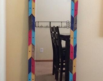 Custom, Beveled, Full Length Mirror with Distressed Wood Shim Frame, Painted Wood Shim Art, Arrow Themed Mirror