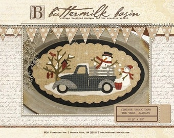 """PATTERN:  """"Vintage Truck Thru the Year-January"""" Primitive Wool Applique penny rug pattern"""