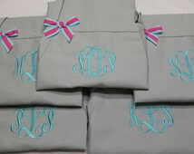 Gray Monogrammed Apron - Personalized Gray Apron, Neutral Color Aprons, Personalized Baking Kitchen Aprons, Beach Coastal Aprons, Custom