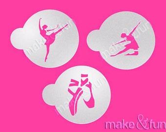 3 pcs Ballerinas Stencil, Cookie Stencil, Cake Stencil, Schablone (Product Code LC022)
