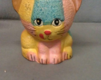 Rubens Originals Yellow Turquoise and Peach Cat with Orange Tail Planter Holder