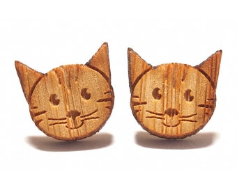 Happy Cat Earrings - Etched Bamboo, Cat Stud Earrings, Cat Jewellery, Wooden Earrings, Kitten Earrings, Titanium Earrings, Cat Studs