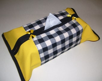 TISSUE BOX COVERS - checkered tissue box covers - checkered home decor - checkered kleenex box - checkered kitchen decor - checkered covers