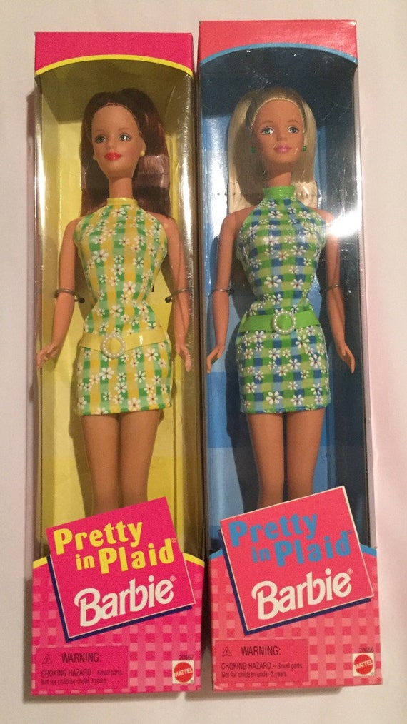 FREE SHIPPING-New In Box-Two-Pretty In Plaid-Barbie-Mattel-20667-20666-Blond-Burnet-Fashion Barbie Dolls