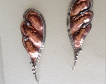 Copper and sterling silver pod earrings