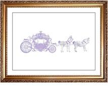 Princess Carriage Print, DIY Printable Purple Lavender Watercolor Princess Cinderella Coach Carriage Print Picture Art, Girls Room Nursery
