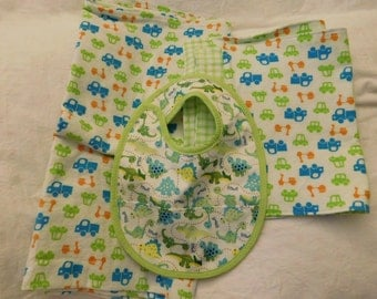 BABY 4pc GIFT SET -- receiving blanket, 2 burp cloths, reversible bib