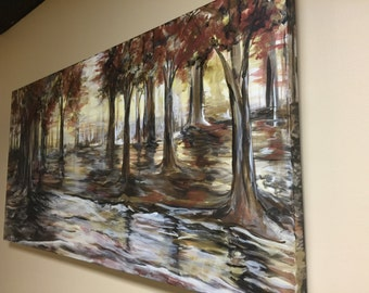 """24""""X48"""" Autumn Fog Large Gallery Stretched Canvas ready to hang"""